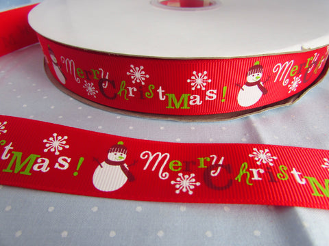 Red Grosgrain with Snowman Ribbon