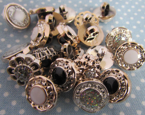 13mm Sparkly Gem Buttons with Shank Fastening