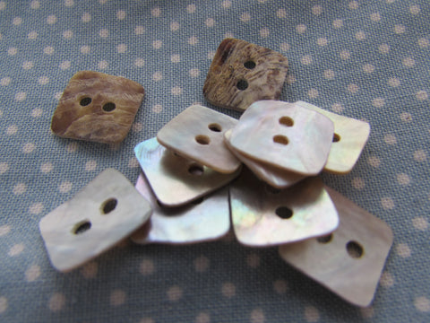 12mm Square Mother of Pearl Buttons 2 hole sew on
