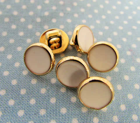 10mm Gold Dress Shirt Buttons with White Inlay