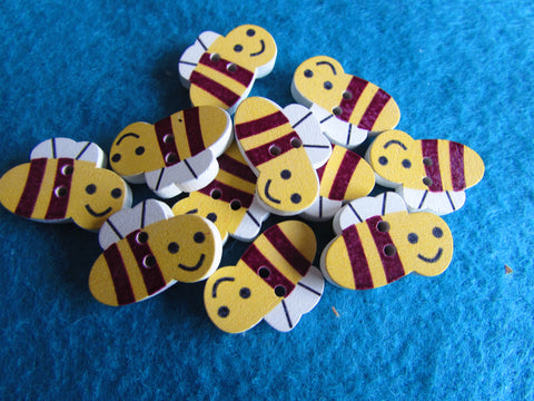 Wooden Bee Buttons