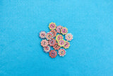Wooden Patterned Flower Shaped Buttons