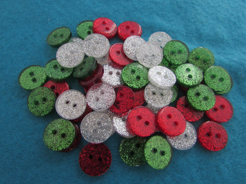 Small Glitter Buttons in Christmas Colours