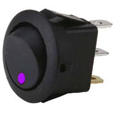 METRA Round Rocker Switch, Purple, LED - Extreme Electronics