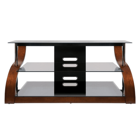 BELLO Curved Wood A/V Stand in Vibrant Espresso Finish - Extreme Electronics - The Best for Less! Brandon, Manitoba