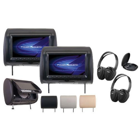 "POWERACOUSTIK Universal 7"" DVD Headrests & 2 Headphones - Extreme Electronics"