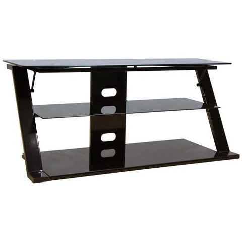 "BELLO 65"" 3-Shelf Black Glass Stand"