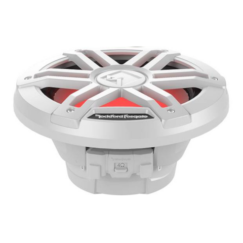 "ROCKFORD FOSGATE M1 Series 8"" Marine Subwoofer with Dual 4 Ohm Voice Coils and RGB LED Lighting, White (M1D4-8) - Extreme Electronics"