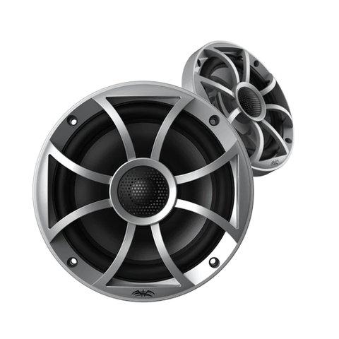 "WET SOUNDS RECON 6 1/2"" Coaxial marine speakers, Silver, open XS Grille, PAIR (RECON6S) - Extreme Electronics"