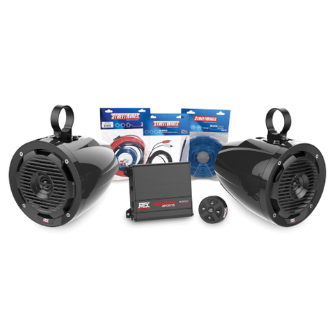 MTX Audio 2-Channel Amplifier and 2 Roll Cage Speaker Audio Package (BORVKIT1)