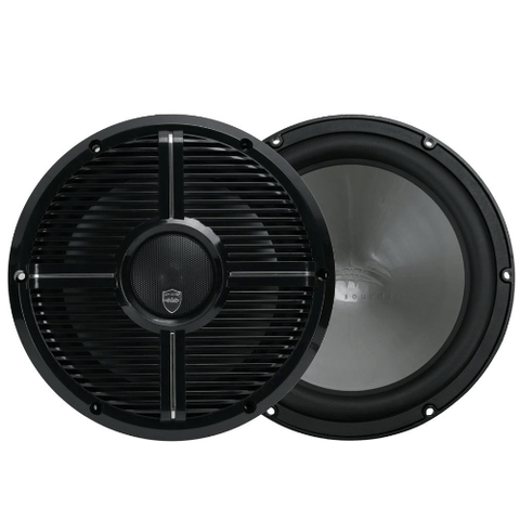 "WET SOUNDS 10"" 2-way Coaxial Black marine speakers with LED lighting closed XW Grille, PAIR (REVO10CXXWB) - Extreme Electronics"
