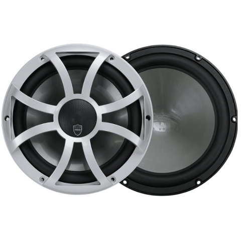 "WET SOUNDS 10"" 2-way Coaxial Silver marine speakers with LED lighting open XS Grille, PAIR (REVO10CXXS) - Extreme Electronics"