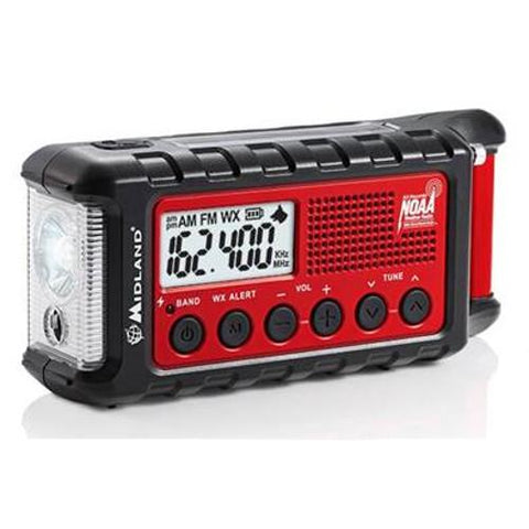 MIDLAND EMERGENCY DYNAMO CRANK RED RADIO WITH AM FM WEATHER ALERT - Extreme Electronics - The Best for Less! Brandon, Manitoba - 1