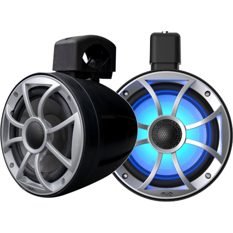 "WET SOUNDS 6-1/2"" wakeboard tower speakers with RGB LED Lighting and clamps-Black w/ Open Grille, PAIR (RECONPOD6B) - Extreme Electronics"