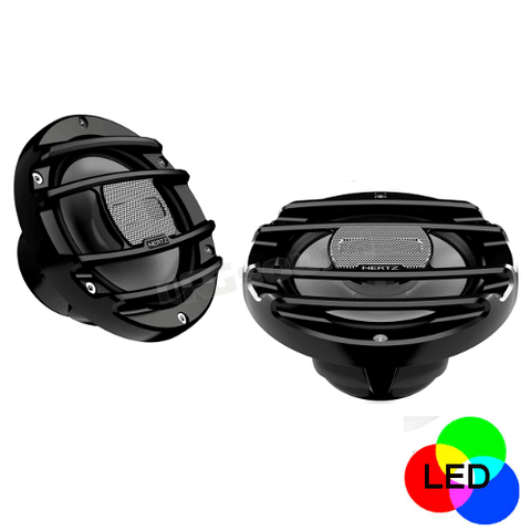 "HERTZ 6 1/2"" Powersport 2-Way Coaxial Speakers With RGB LED Lighting, Pair (HMX6.5SLD) - Extreme Electronics"