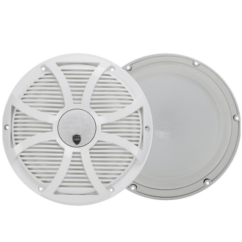 "WET SOUNDS 10"" 2-way Coaxial White marine speakers with LED lighting closed SW Grille, PAIR (REVO10CXSWW) - Extreme Electronics"