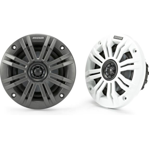 "Kicker 4"" 2 Ohm 2-way marine speakers with 2 sets of grilles - Pair (45KM42) - Extreme Electronics"