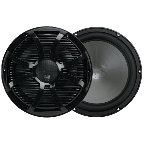 "WET SOUNDS 10"" 2-way Coaxial Black marine speakers with LED lighting closed SW Grille, PAIR (REVO10CXSWB) - Extreme Electronics"