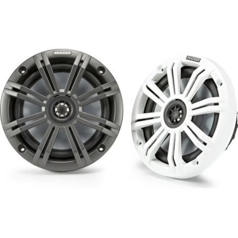 "KICKER 6 1/2"" 4 Ohm 2-Way Marine Speakers with 2 Sets of Grilles, Pair (45KM654) - Extreme Electronics"