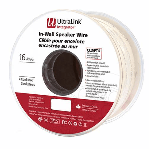 ULTRALINK Integrator In-Wall Speaker Wire 16 Gauge 4 Conductor, 100ft (CL416100) - Extreme Electronics