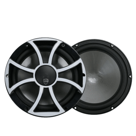 "WET SOUNDS 10"" 2-way Coaxial Black marine speakers with LED lighting Stainless overlay Grille, PAIR (REVO10CXSBSS) - Extreme Electronics"