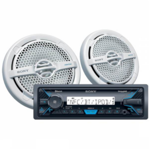 "SONY Marine Audio Package Digital Media Receiver and One Pair 6 1/2"" Marine Speakers (DXSM5511BT) - Extreme Electronics"