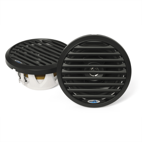 AQUATIC AV 6 1/2″ Pro-Series Black Marine Speakers With Blue LED Lighting, Pair (AQSPK654LB) - Extreme Electronics