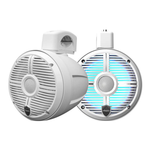 "WET SOUNDS 6-1/2"" wakeboard tower speakers with RGB LED Lighting and clamps-White w/ Closed Grille, PAIR (RECONPOD6W) - Extreme Electronics"
