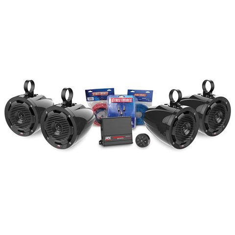 MTX Audio 2-Channel Amplifier and 4 Roll Cage Speaker Audio Package (BORVKIT2)