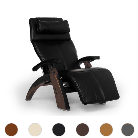 Human Touch Perfect Chair 610 with Premium Leather Pad and Omni Motion Classic Walnut Base