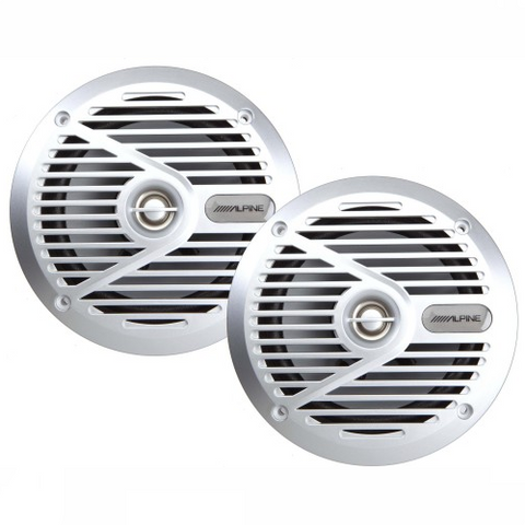 ALPINE 6-1/2″ 2-Way Marine Speakers Silver, Pair (SPS-M601) - Extreme Electronics