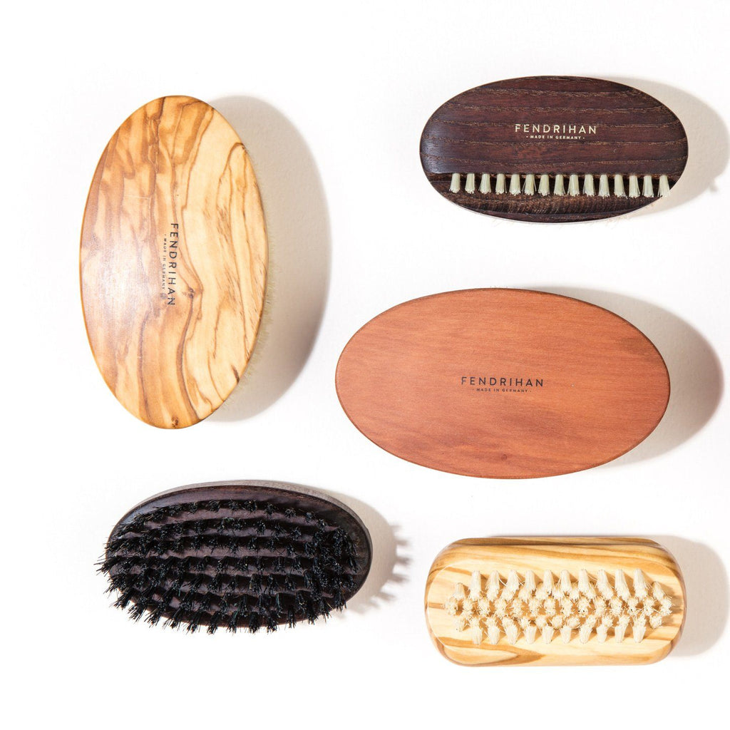 Men's Olivewood Military Hairbrush with Soft Light Bristles - Made in Germany Hair Brush Fendrihan