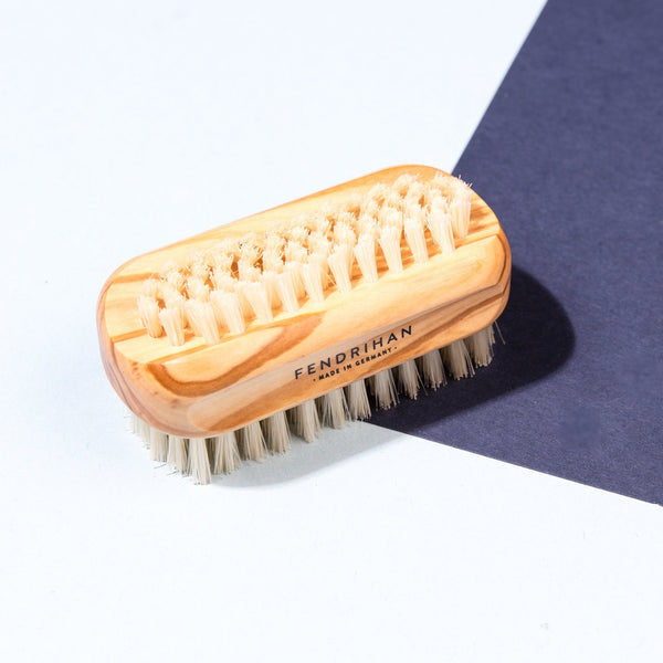 Olive Wood Hand and Nail Brush with Pure Natural Bristles - Made in Germany
