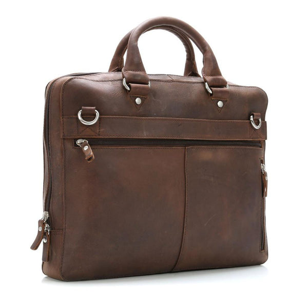 "Leonhard Heyden Salisbury Briefcase with 14"" Laptop Compartment, Brown Leather - Fendrihan - 2"