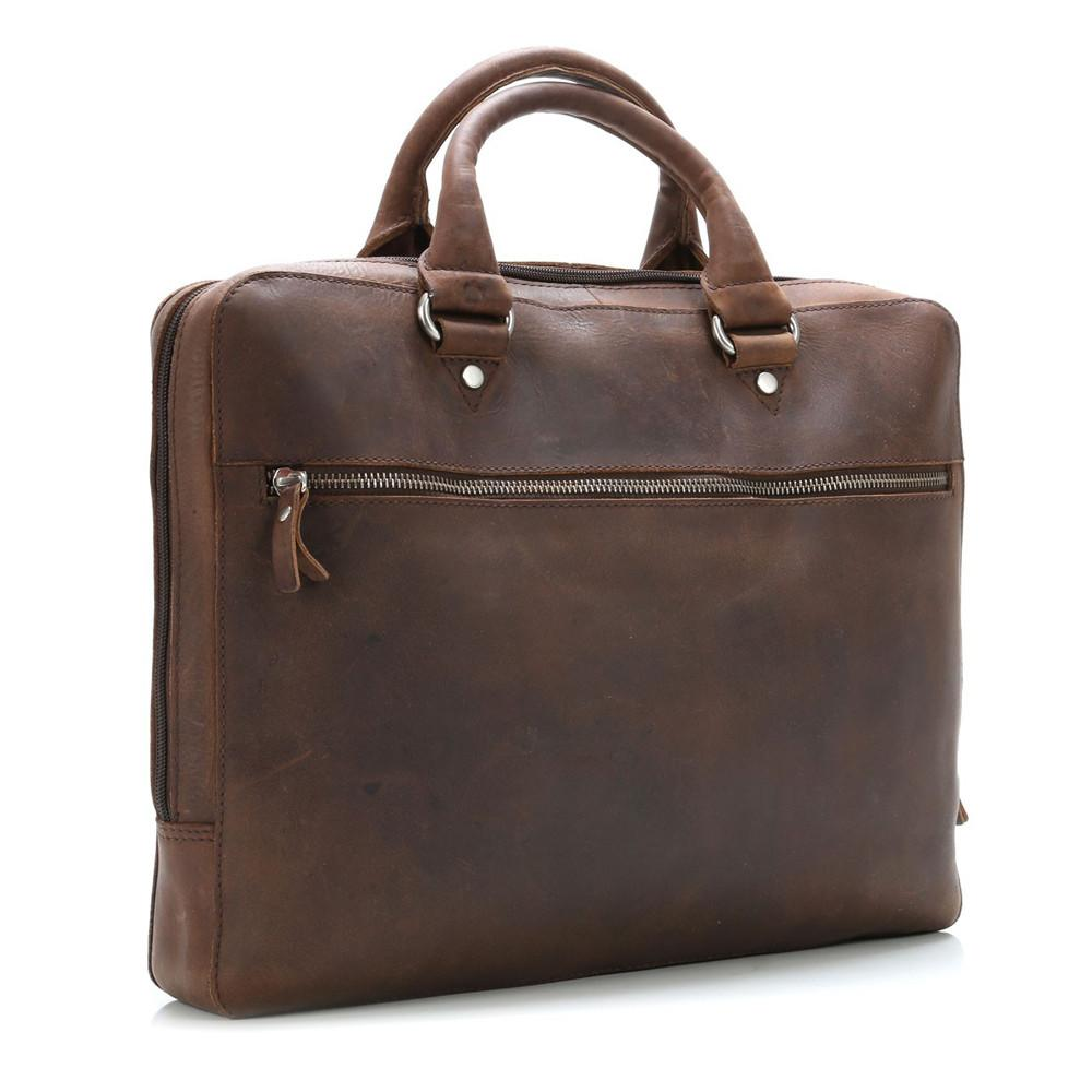 "Leonhard Heyden Salisbury Briefcase with 14"" Laptop Compartment, Brown Leather - Fendrihan - 3"