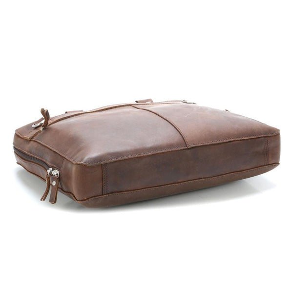 "Leonhard Heyden Salisbury Briefcase with 14"" Laptop Compartment, Brown Leather - Fendrihan - 4"