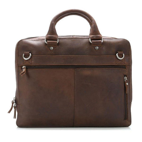 "Leonhard Heyden Salisbury Briefcase with 14"" Laptop Compartment, Brown Leather - Fendrihan - 1"