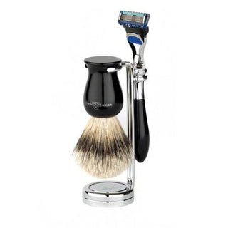 Edwin Jagger 3-Piece Gillette Fusion Shaving Set, Faux Ebony Shaving Kit Edwin Jagger