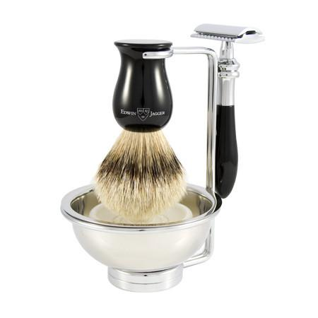 Edwin Jagger 4-Piece Plaza Classic Safety Razor Shaving Set, Faux Ebony Shaving Kit Edwin Jagger