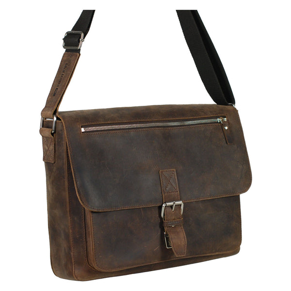 "Leonhard Heyden Salisbury Leather Messenger Bag with 13"" Laptop Compartment - Medium, Brown - Fendrihan - 1"
