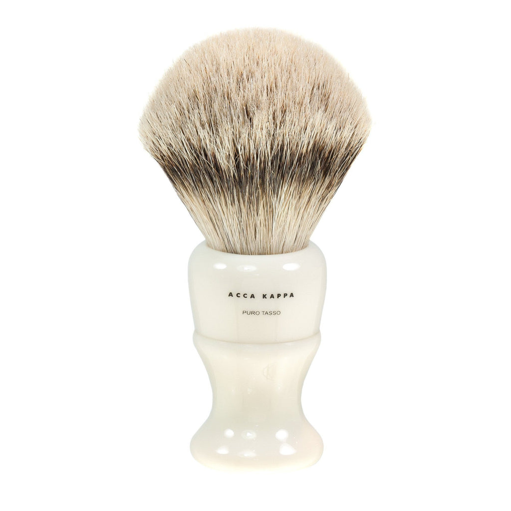 Acca Kappa Silvertip Badger Shaving Brush in Ivory, Large Badger Bristles Shaving Brush Acca Kappa