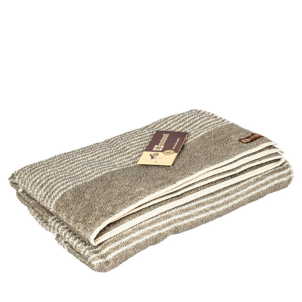 A Grupė Natural Towel, Grey with Ivory Stripes