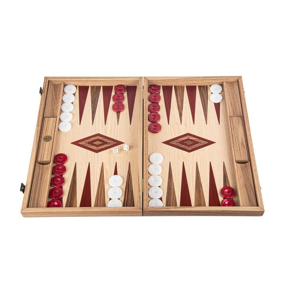 Manopoulos Handmade Classic Backgammon Set Board Game Manopoulos Oak & American Walnut with Red & Walnut Points with Side Racks