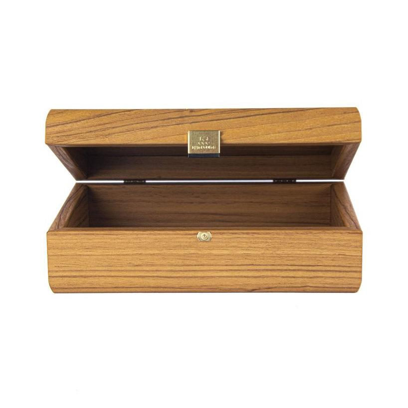 Manopoulos Walnut Wooden Box with Natural Italian Olive Burl Top Storage Case Manopoulos