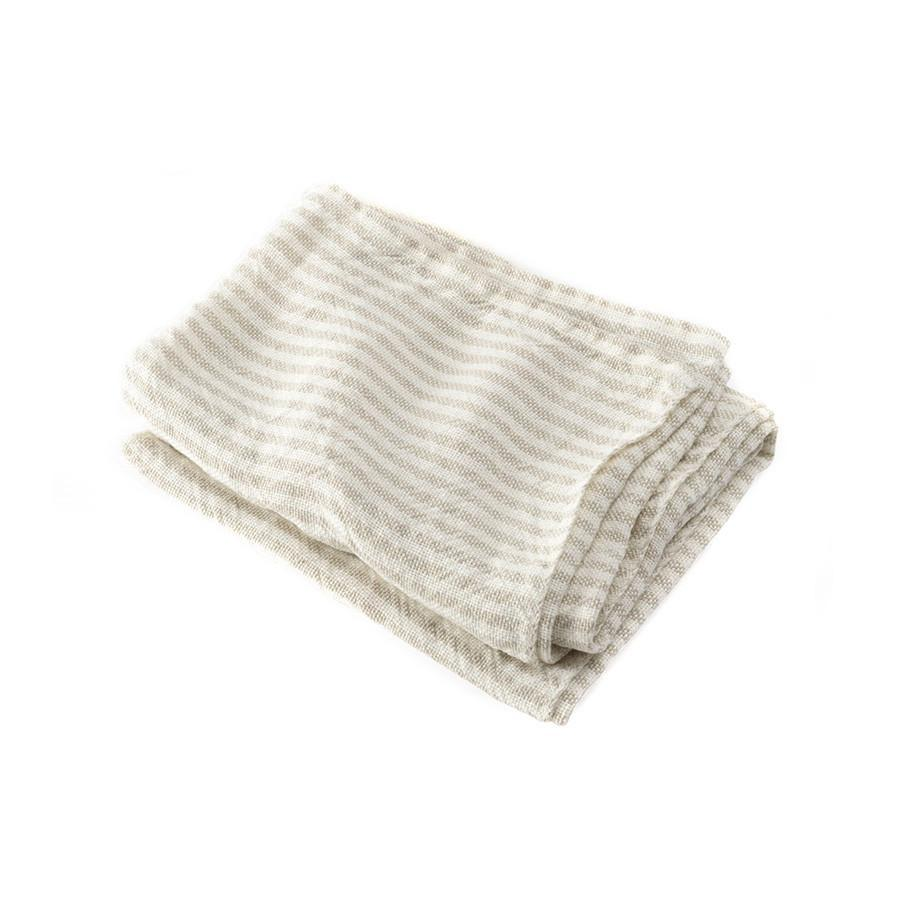 "Brahms Mount McClary Linen Towels Bath Towel Brahms Mount Natural Stripe Hand Towel (17"" x 28"")"