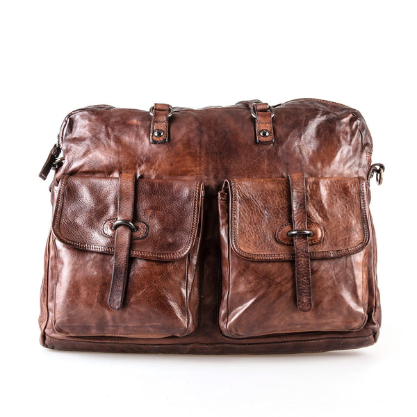 Campomaggi C4980 Italian Leather Messenger Bag, Dark Brown