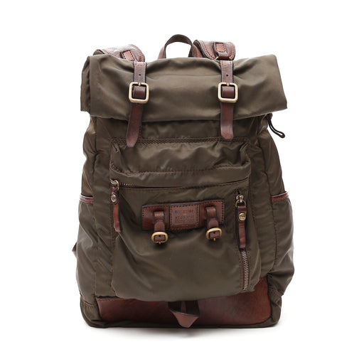 Campomaggi C0040 Military Backpack, Leather and Nylon