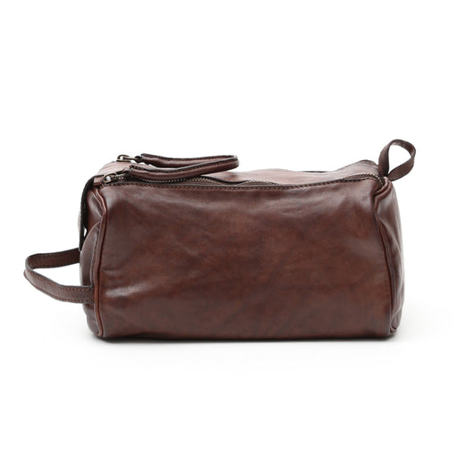 Campomaggi C2290 Leather Toiletry Bag, Dark Brown