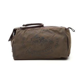 Campomaggi C2290 Toiletry Bag, Leather and Fabric with Teodorano Print Toiletry Bag Campomaggi