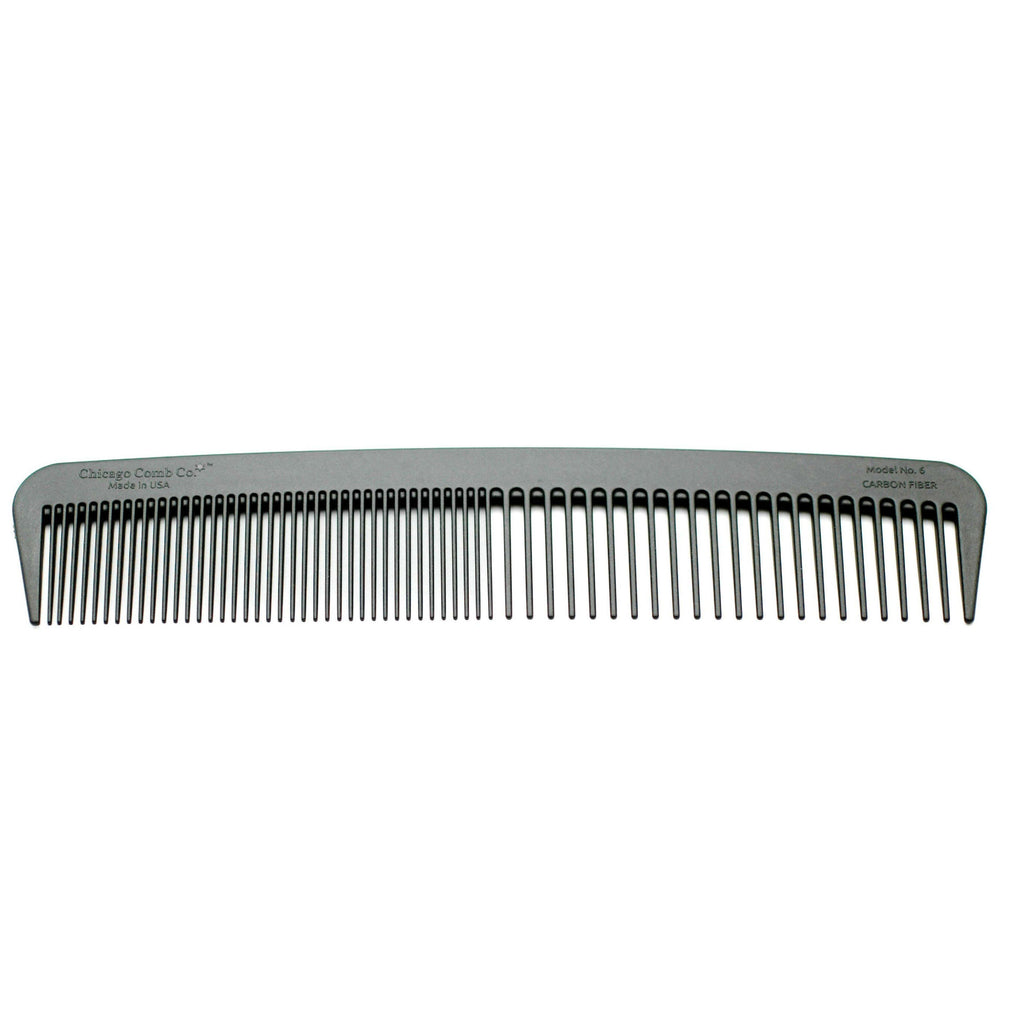 Chicago Comb Co. Model No. 6 Carbon Fiber Double-Tooth Comb